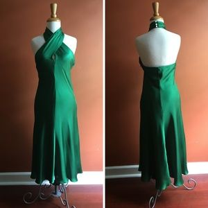 BANANA REPUBLIC Emerald Green Silk Party Dress 10